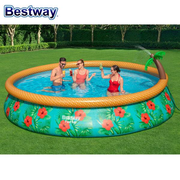 Betsway Надуваем басейн с пръскалка, филтърна помпа и филтър 457х84см 57416