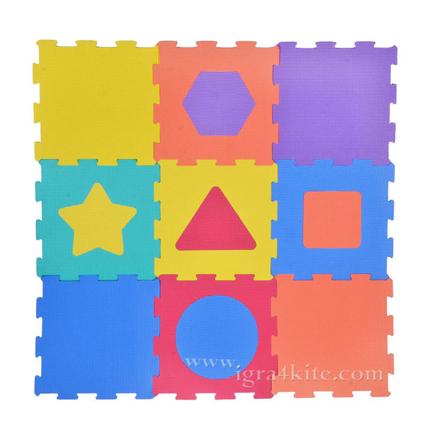 Мек килим пъзел - Геометрични фигури - 9 части
