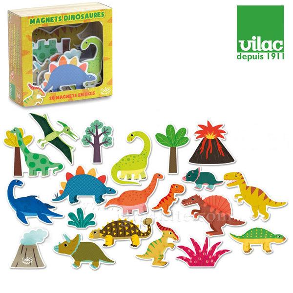 Vilac - Дървени магнити Динозаври 8025