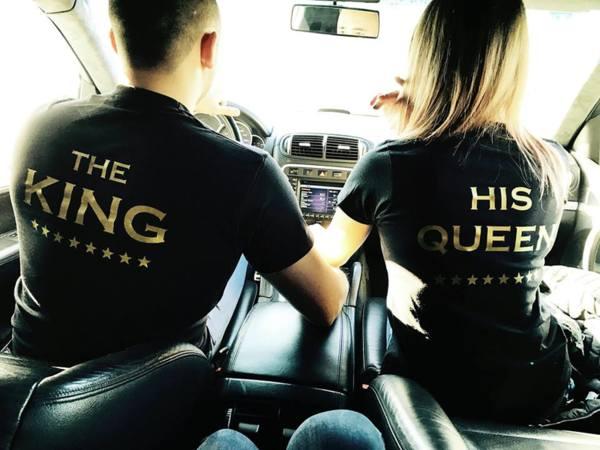 Комплект Тениски За Влюбени Двойки The King & His Queen