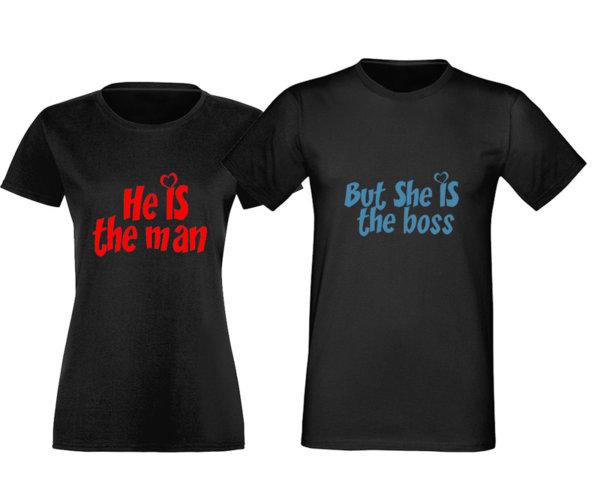 Комплект Тениски За Влюбени Двойки She is The Boss