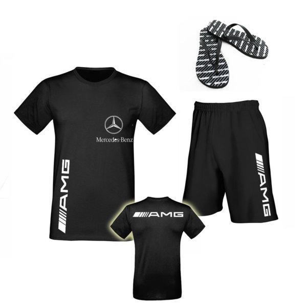 Летен Промо Комплект Mercedes AMG - Памучна Тениска и Къси Спортни Панталони и Джапанки