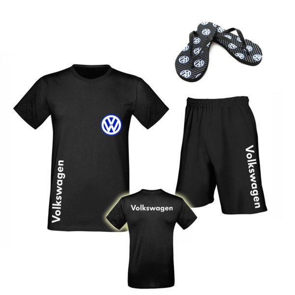 Летен Промо Комплект VOLKSWAGEN - Памучна Тениска и Къси Спортни Панталони и Джапанки