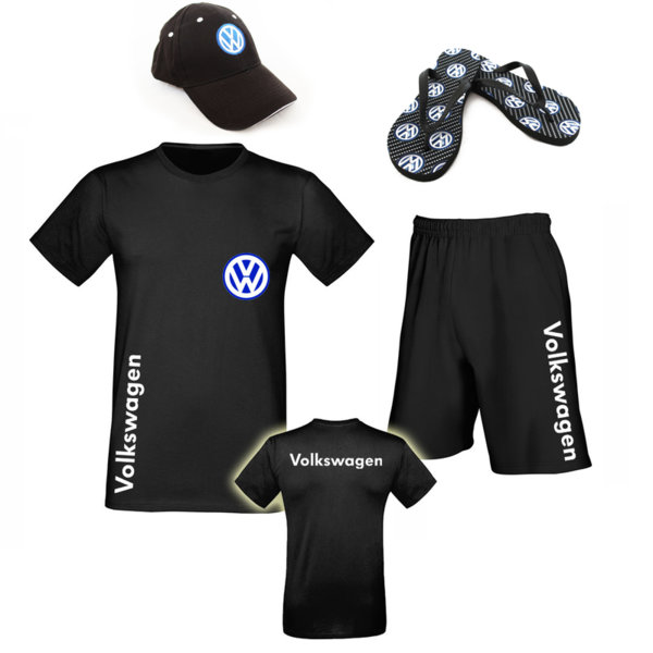 Летен Промо Комплект VOLKSWAGEN - Памучна Тениска и Къси Спортни Панталони, Джапанки и шапка
