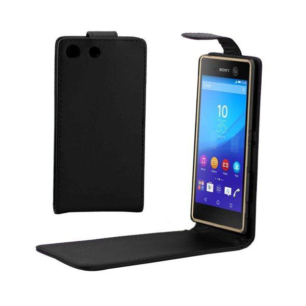 Вертикално отварящ черен калъф Sony Xperia M5