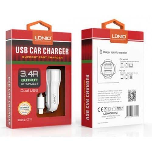 Зарядно за Кола LDNIO 3.4A 12V Car Charger