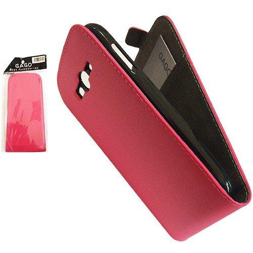 Вертикално отварящ калъф (черен/червен) Huawei P8 Lite