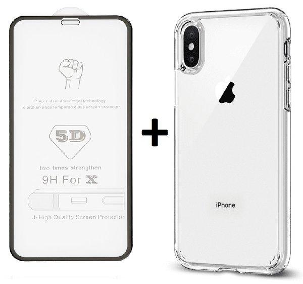 Комплект 5D Full Glue стъклен протектор + Clean Armor гръб Iphone X/XS