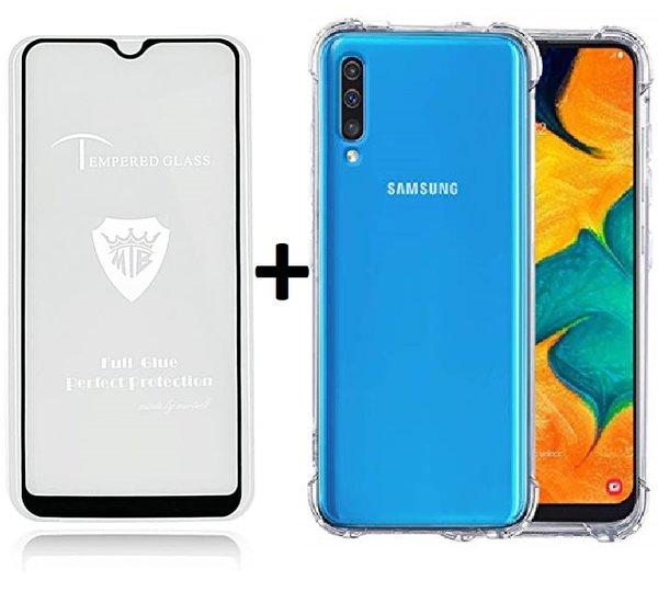 Комплект 5D Full Glue стъклен протектор + Clean Armor гръб Samsung A70 2019