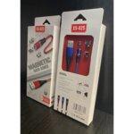 Плетен Магнитен USB кабел 3в1 с приставки за MicroUSB,Lightning и Type-C /черен/