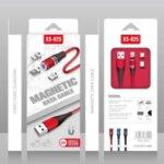 Плетен Магнитен USB кабел 3в1 с приставки за MicroUSB,Lightning и Type-C