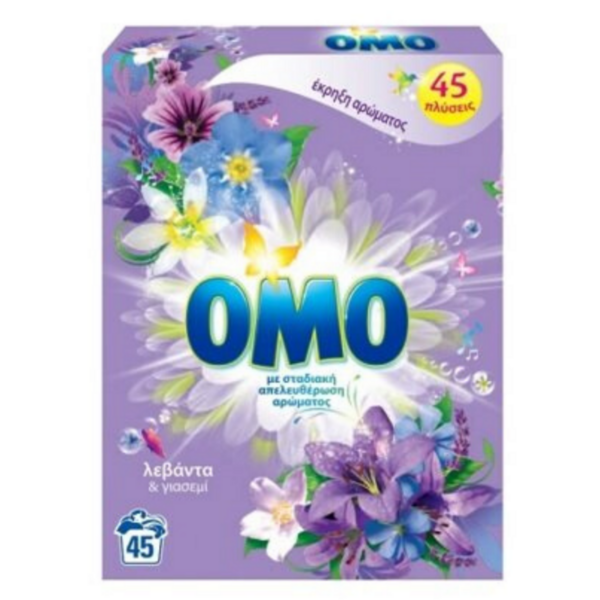 Прах за пране Omo Tropical Lavanda & Jasmin, 2,745 кг, 45 пранета