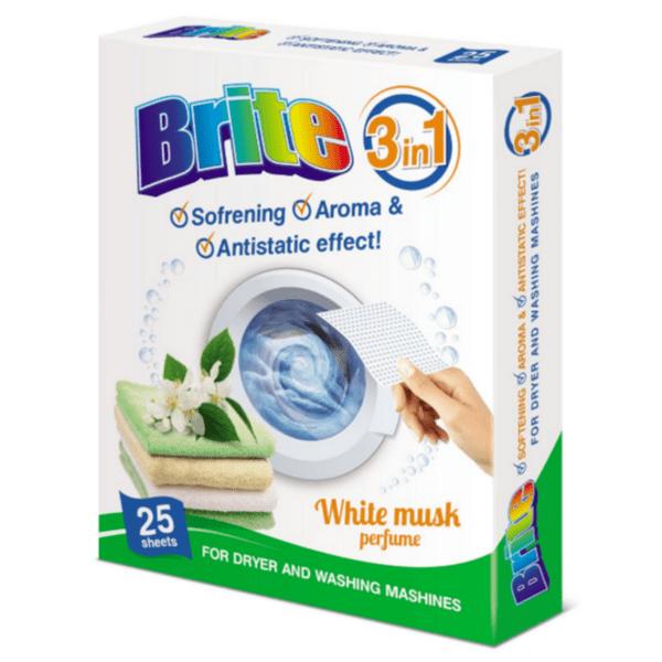 Кърпи за сушилня и пералня Brite White Musk, 25 броя