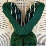 Официална дълга рокля с цепка в зелен цвят-Copy