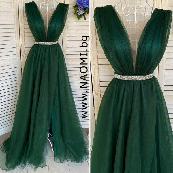 Официална дълга рокля с цепка в изумрудено зелен цвят