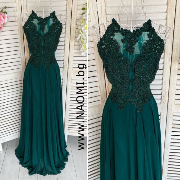 Официална дълга рокля в зелен цвят с дантела и кристали