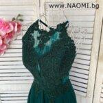 Луксозна дълга рокля в цвят пепел от рози с дантела и кристали-Copy