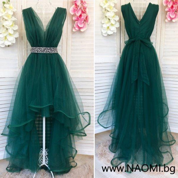 Официална рокля с асиметрична дължина в зелен цвят