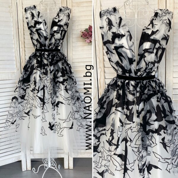 Официална рокля с дължина до прасеца в бял цвят