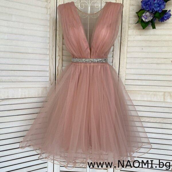 Официална коктейлна рокля от тюл в цвят пудра