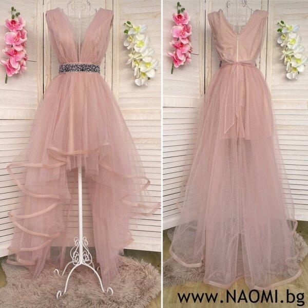 Официална рокля с асиметрична дължина в цвят пудра