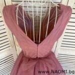 Официална коктейлна рокля от тюл в цвят пепел от рози