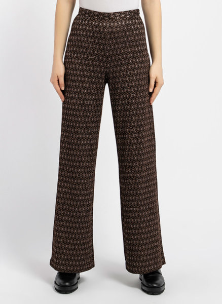 Черен жакардов панталон с ламе