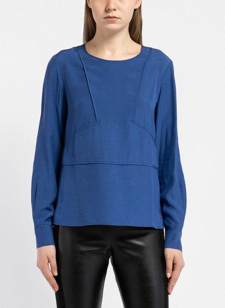 Синя блуза с декоративни шевове