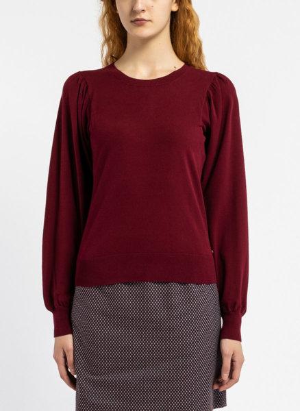 Бордо пуловер с буфан ръкави