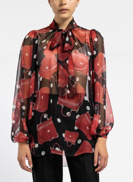 Червена блуза с принт и панделка Dolce&Gabbana