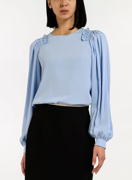 Блуза с плисиран ръкав