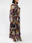 Копринена рокля с флорален принт