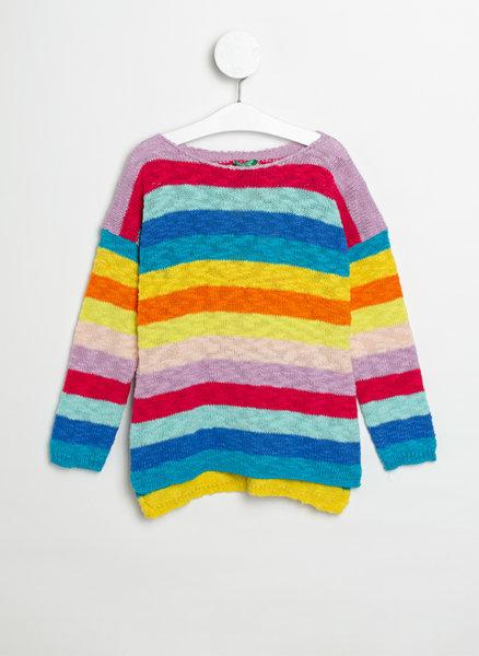 Пуловер с многоцветно райе