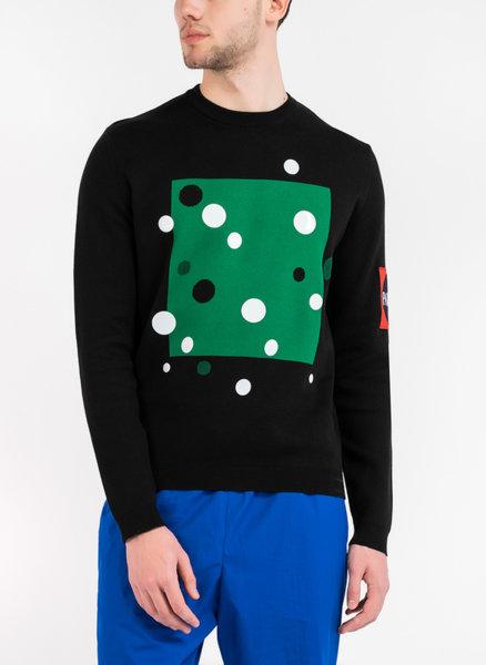 Памучен пуловер с бродирано лого
