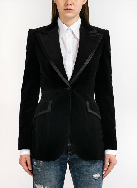 Вталено сако от кадифе