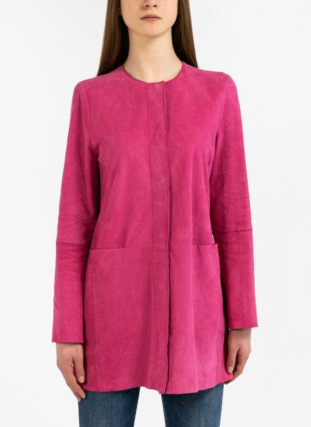 Велурено палто с големи джобове