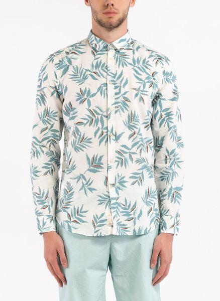 Риза с лен и цялостен принт