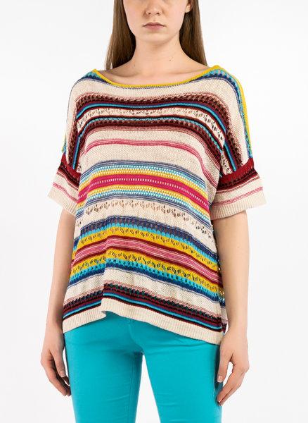 Блуза с многоцветно райе