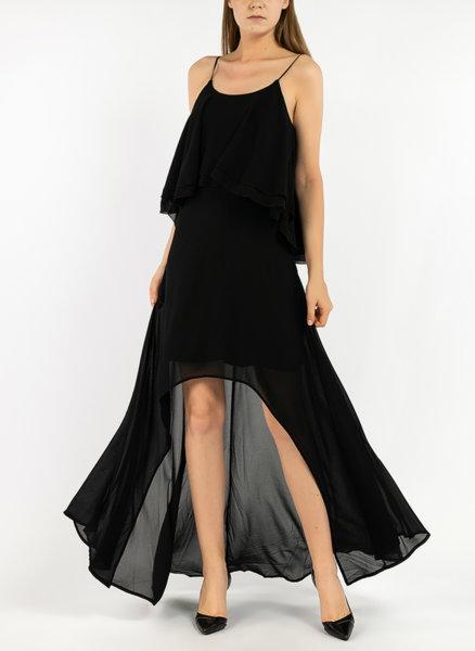 Асиметрична рокля с волани