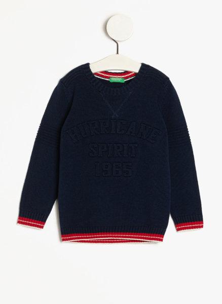 Пуловер с тематичен слоган Benetton