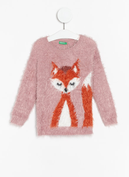 Пуловер с тематичен принт Benetton