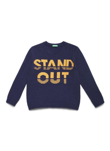 Пуловер с тематичен надпис Benetton