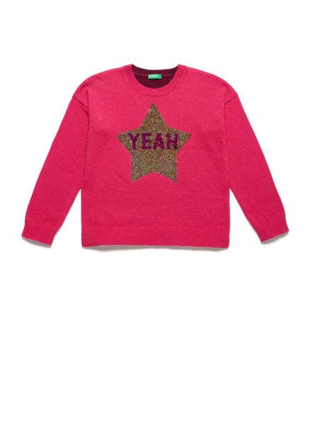 Пуловер с брокат Benetton
