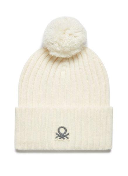 Плетена шапка с помпон Benetton