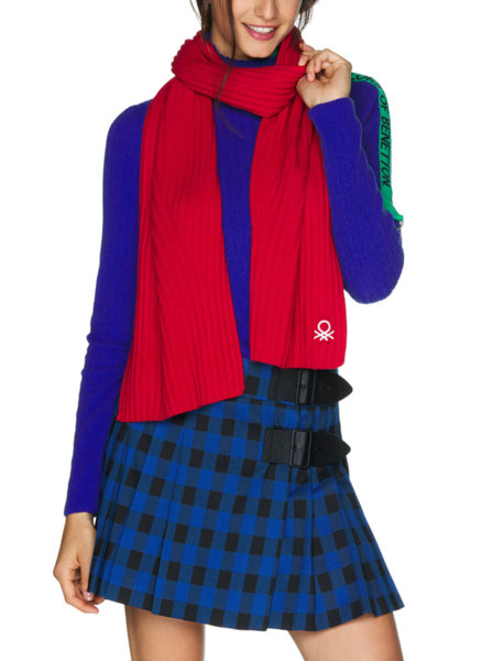 Плетен шал с лого Benetton