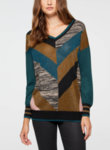 Пуловер с геометричен десен Sisley