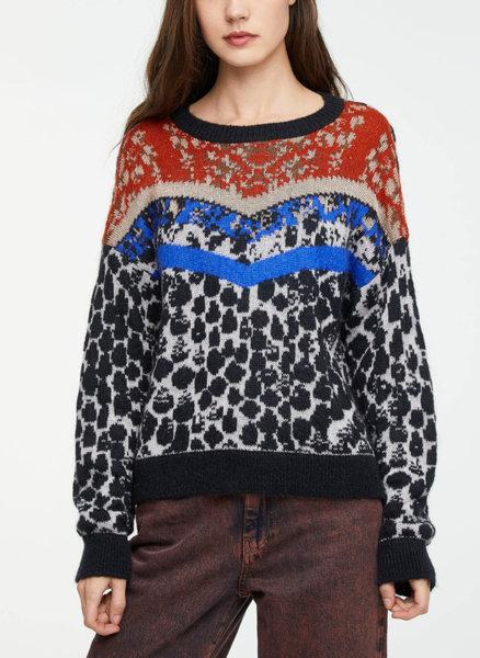 Пуловер с анималистичен десен Sisley