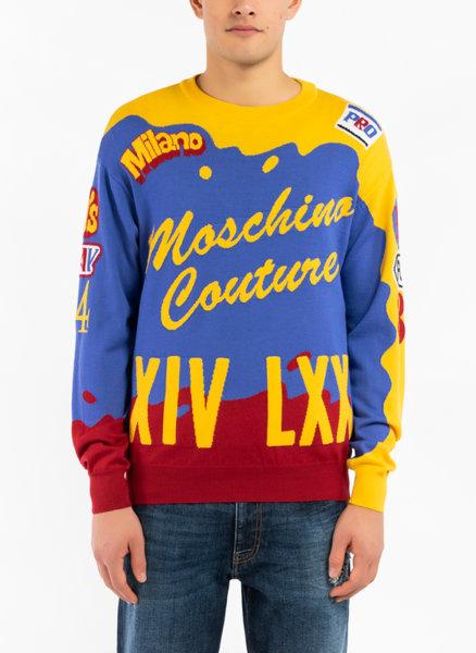 Цветен вълнен пуловер Moschino