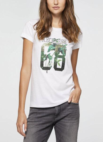 Тениска с принт и пайети Sisley