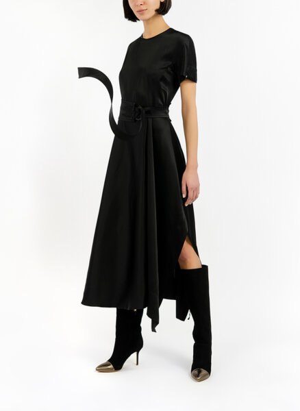 Сатенена рокля с колан Sportmax Nevis